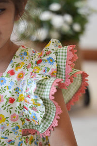Floral & Gingham Pinafore Set