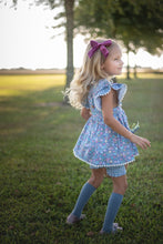 Load image into Gallery viewer, Chambray Floral Pinafore Set