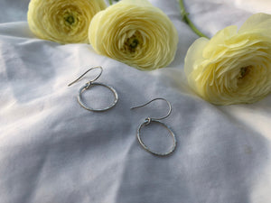 Mellow Moon Jewelry:  Hammered Silver Circle Earrings