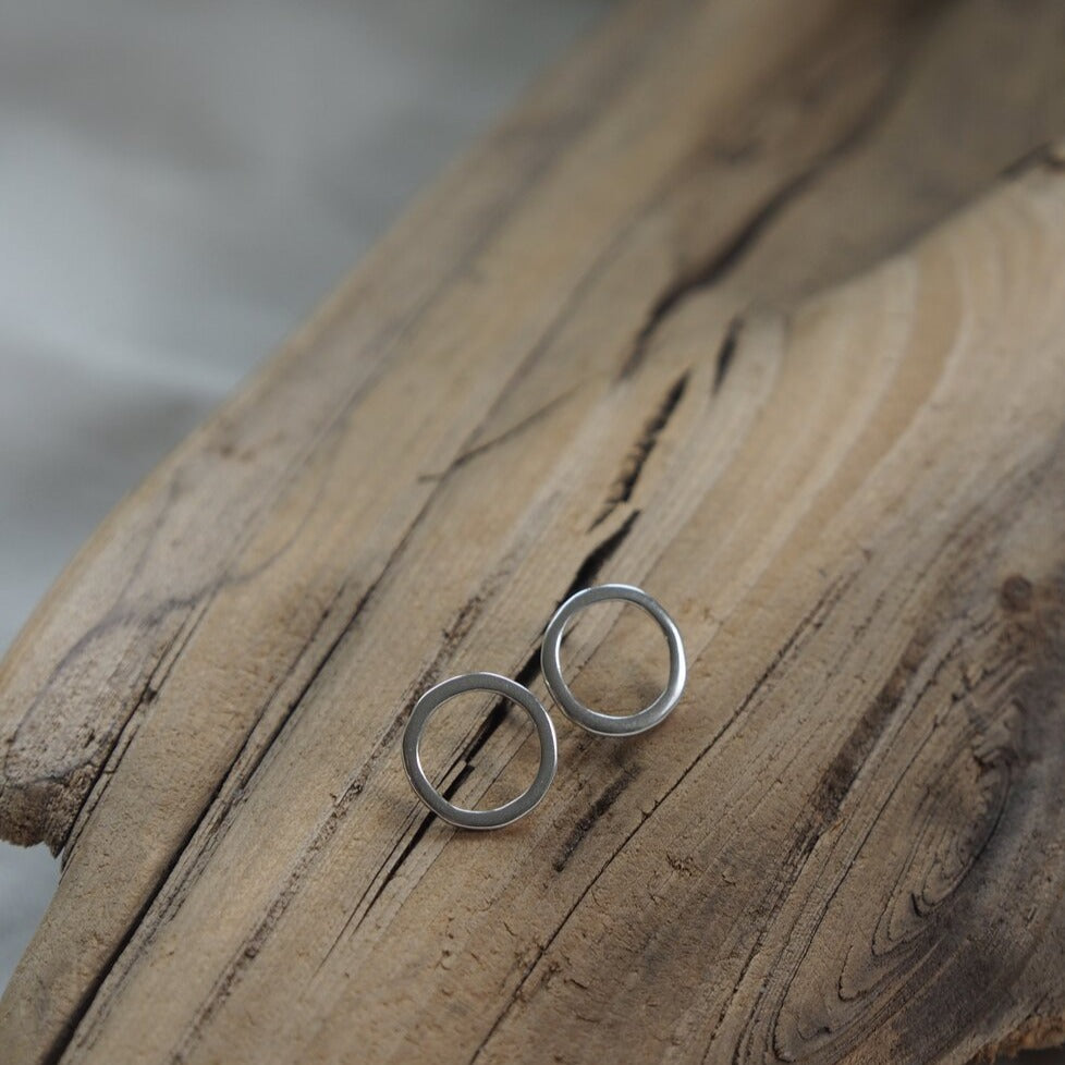 Mellow Moon Jewelry:  Silver Circle Stud Earrings