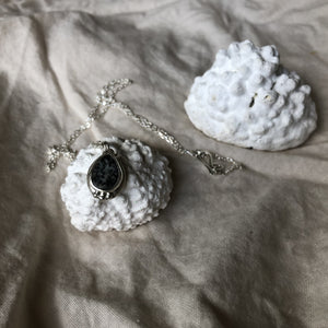 Mellow Moon Jewelry: Local Beach Speckled Stone Pendant with 3 silver balls