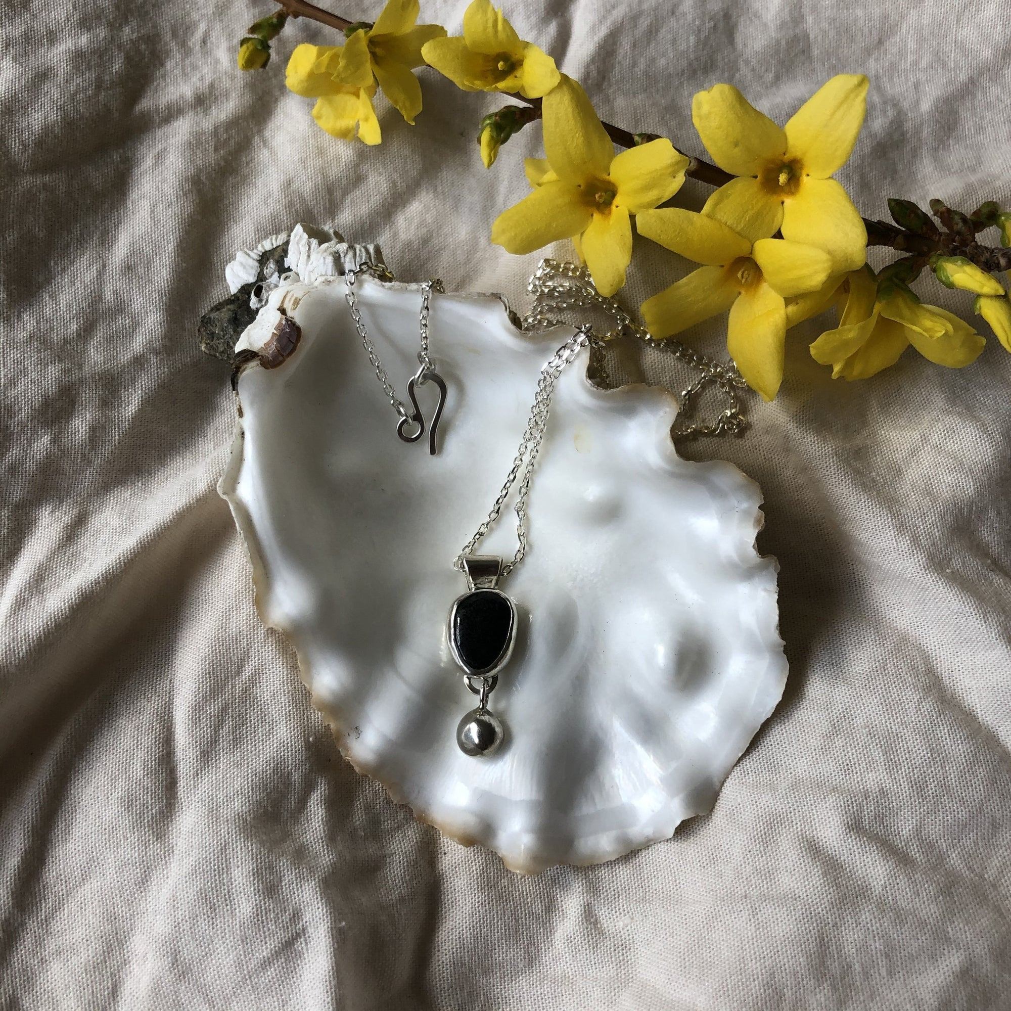 Mellow Moon Jewelry: Local Beach Onyx Stone Pendant with silver ball