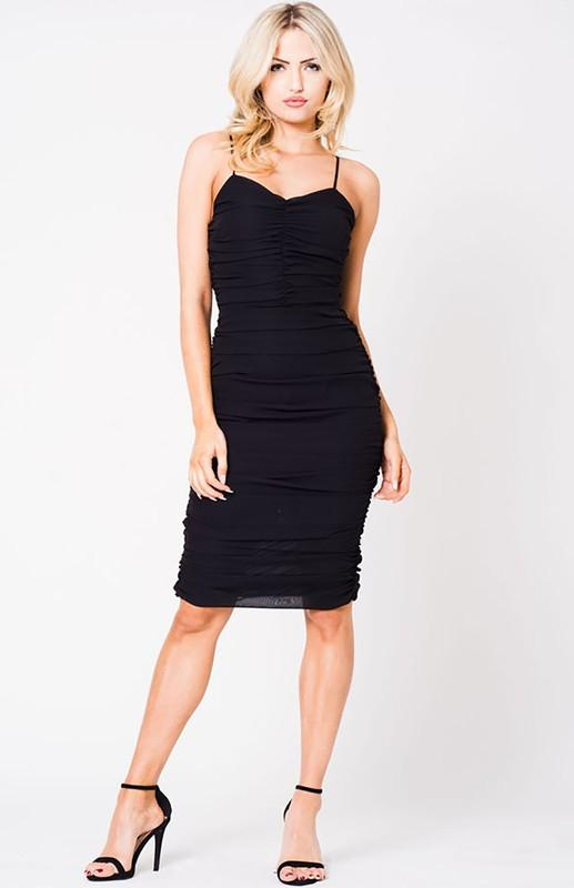 Ruched Mesh Spaghetti Strap Dress