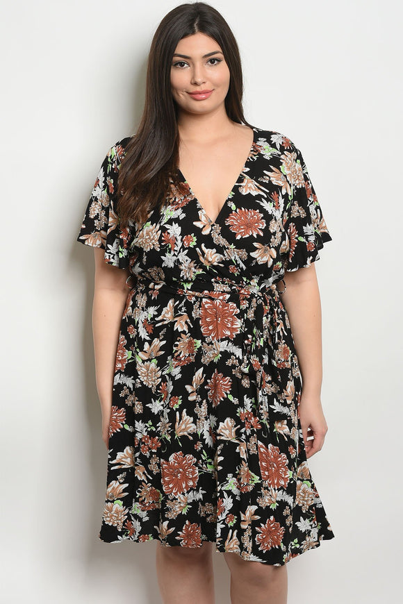 Womens Floral Plus Size Dress
