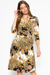 Belted Waist 3/4 Sleeve Dress