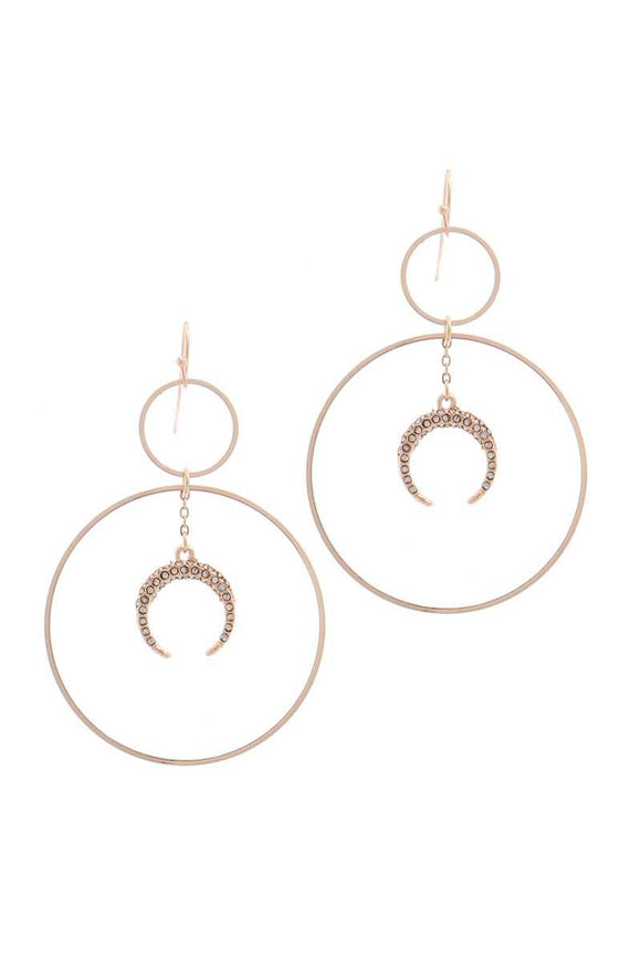 Double Circle Crescent Moon Charm Dangle Drop Earring