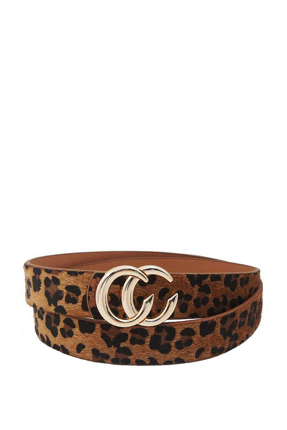 Fashion Trendy Leopard Fur Buckle Belt