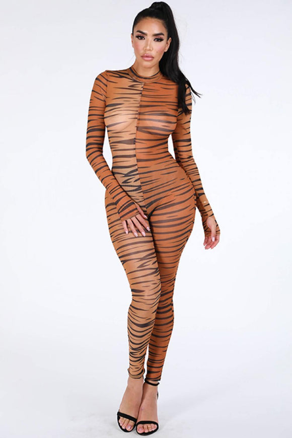 Tiger Printed Mesh Jumpsuit