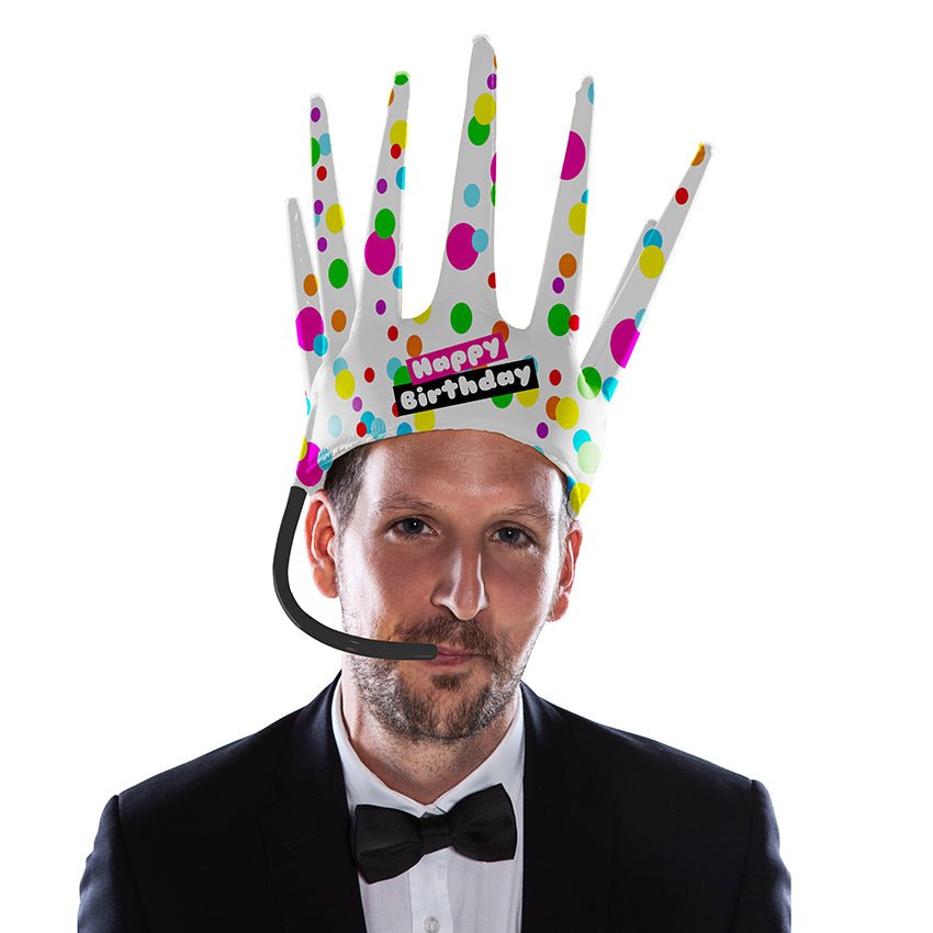 The Trötenkrone or Party Blower Crown is the ultimate Fan Hat, the perfect Party Hat which creates a Sound. The funniest Accessoire you've seen so far. Innovative Merchandise!Gaypride!