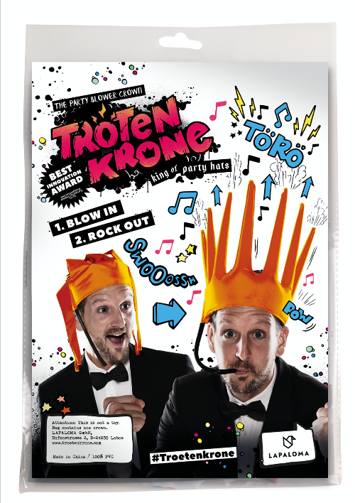 The Trötenkrone or Party Blower Crown is the ultimate Fan Hat, the perfect Party Hat which creates a Sound. The funniest Accessoire you've seen so far. Innovative Merchandise!