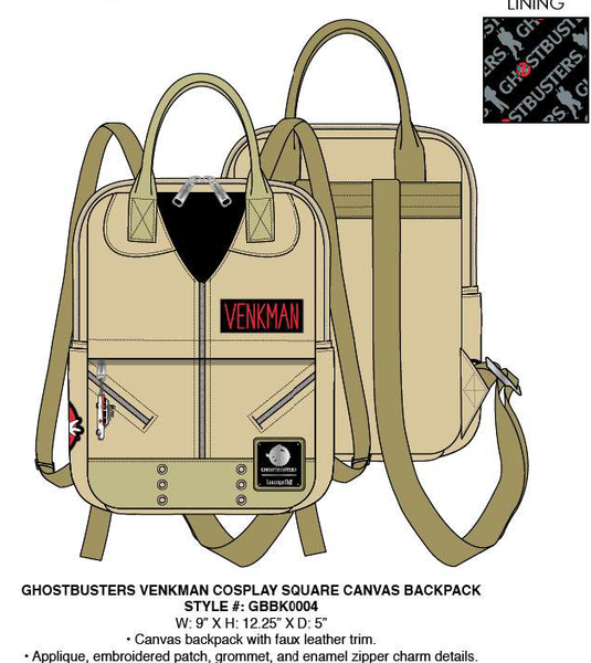 Loungefly Ghostbusters Venkman Square Canvas Backpack PRE-ORDER, PRICE $75