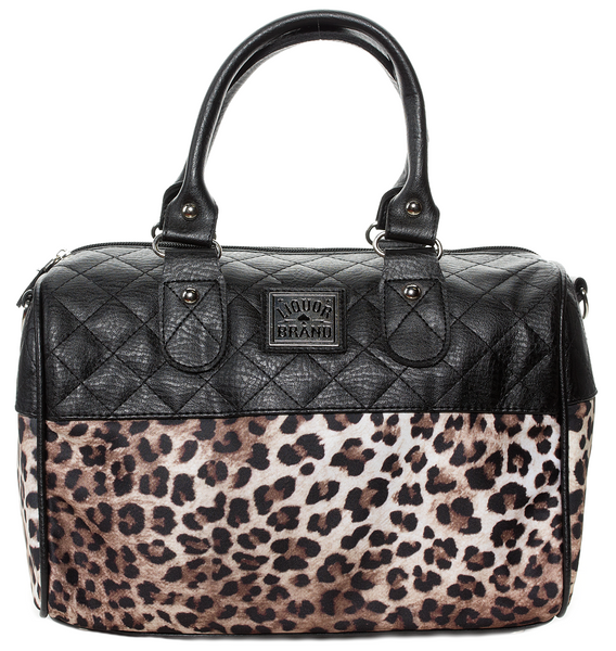 Liquor Brand Leopard Quilted Purse