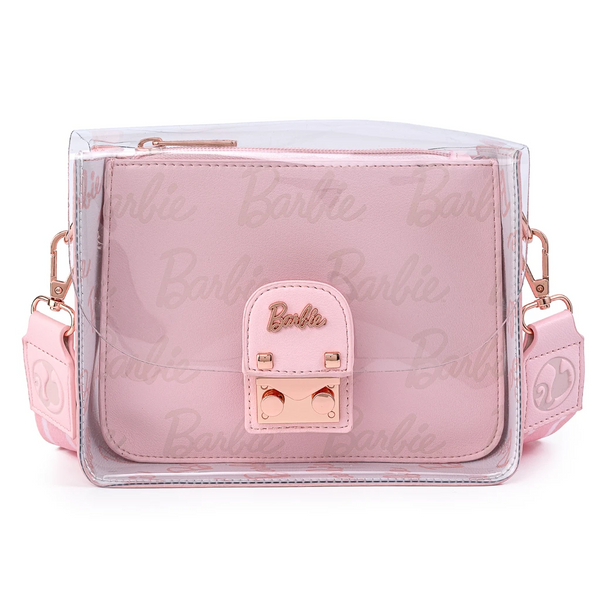 Loungefly Barbie Rose Gold Metal Lock Clear Crossbody Bag