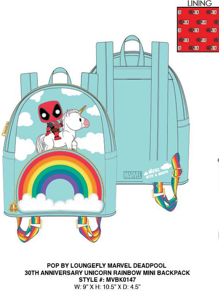 Pop by Loungefly Marvel Deadpool 30th Anniversary Unicorn Rainbow Mini Backpack PRE-ORDER PRICE $75