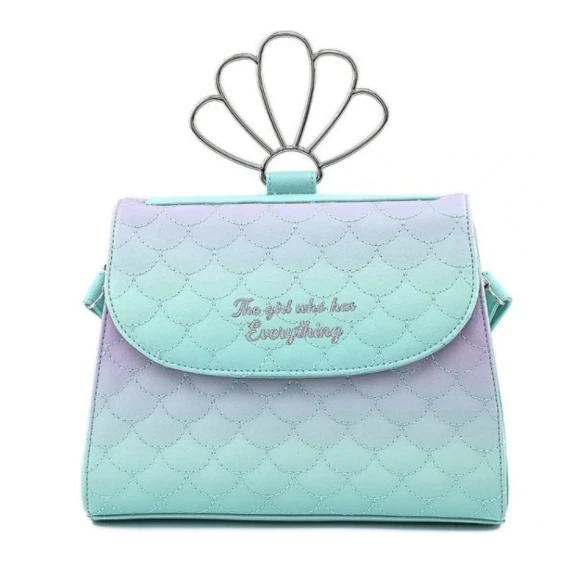 Loungefly Little Mermaid Ombre Scales Shell Handle Crossbody