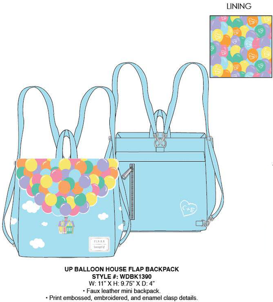 Loungefly Pixar Up Balloon House Flap Mini Backpack PRE-ORDER, Price $70