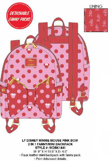 Loungefly Minnie Mouse Pink Bow 2 in 1 Fanny/Mini Backpack PRE-ORDER PRICE $80
