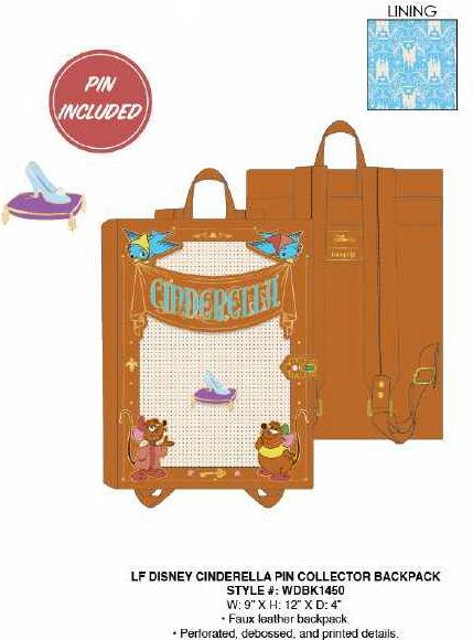 Loungefly Disney Cinderella Pin Collector Backpack PRE-ORDER PRICE $75