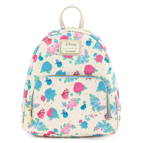 Loungefly Sleeping Beauty Floral Fairy Godmother AOP Mini Backpack