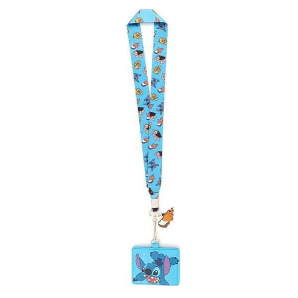 Loungefly Disney Lilo and Stitch Swimming Image Lanyard with Cardholder