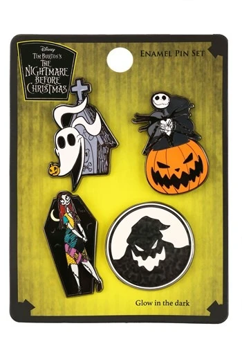 Loungefly Disney Nightmare Before Christmas 4 Piece Enamel Pin Set