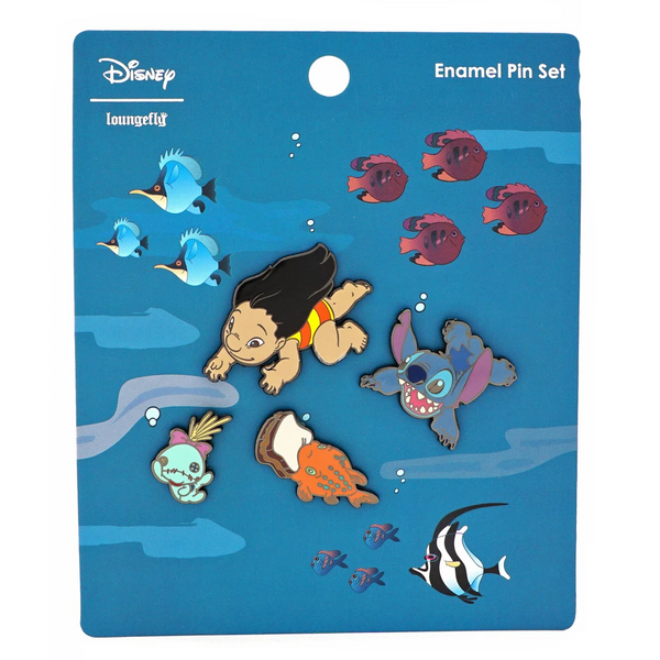 Loungefly Disney Lilo and Stitch Hawaiian Roller Coaster Ride 4 Pc Pin Set