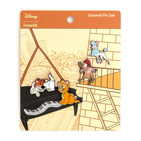 Loungefly Disney Oliver and Company 4 Piece Enamel Pin Set