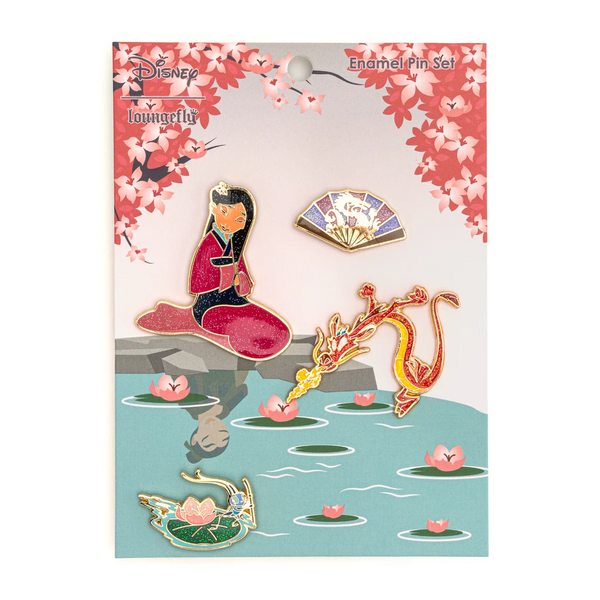 Loungefly Disney Mulan 4 pc Enamel Pin Set