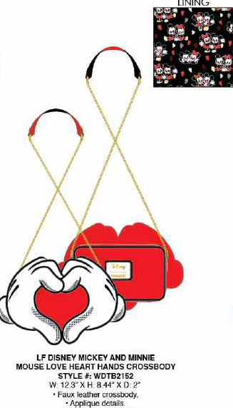 Loungefly Disney Mickey and Minnie Love Heart Hands Crossbody PRE-ORDER PRICE $60