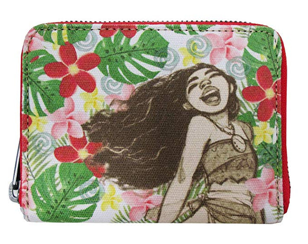 Loungefly Disney Moana Sketch Floral Small Zip Around Wallet