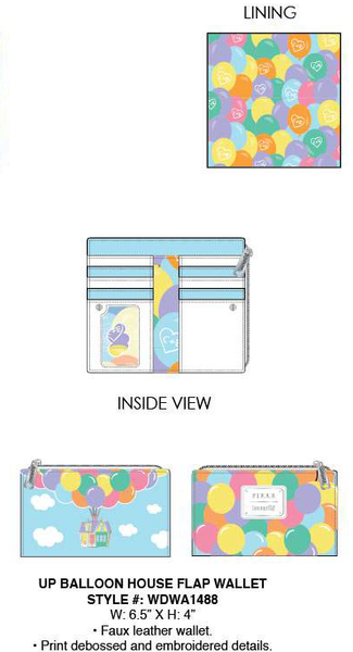 Loungefly Pixar Up Balloon House Flap Wallet PRE-ORDER, Price $40