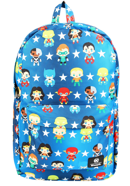 Loungefly Justice League Chibi Print Nylon Backpack