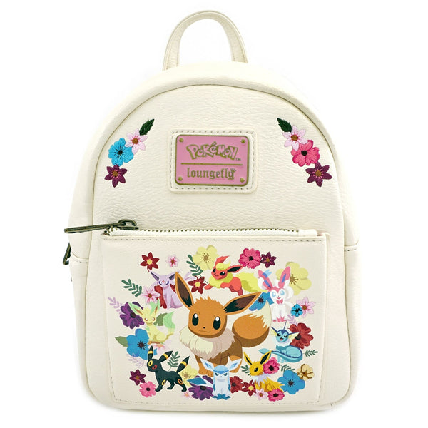 Loungefly Pokemon Eeveelutions Eevee Floral Mini Backpack DEFECTIVE (Front pocket slightly crooked)