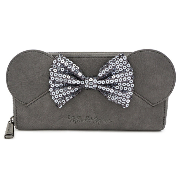 Loungefly Disney Gray Minnie Ears Sequin Faux Leather Zip Around Wallet