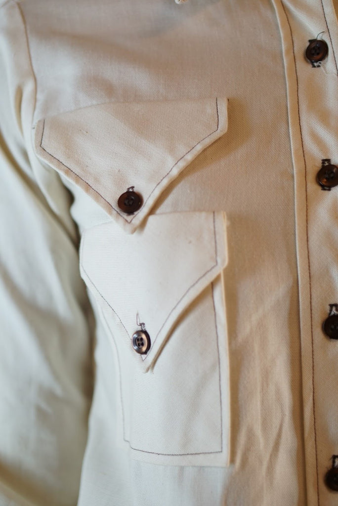Western 1960s Point-collar Romper with Brown Stitching - Terminology