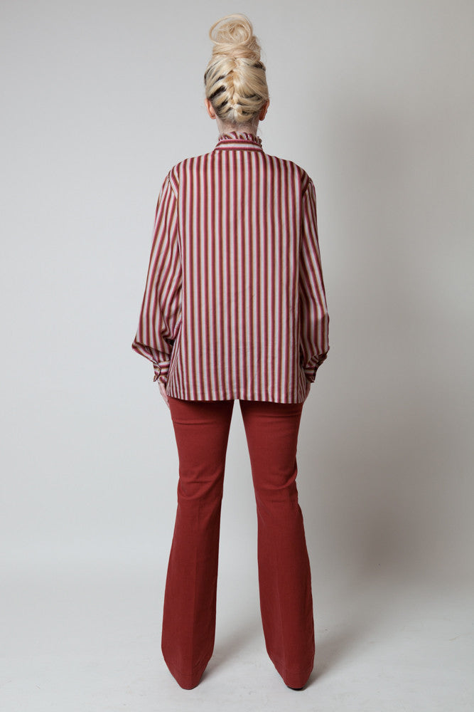 Vintage Koret Berry Striped Ruffle Blouse - Terminology
