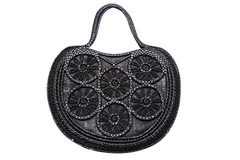 Vintage 1970s Black Weave-trim Applique Handbag - Terminology