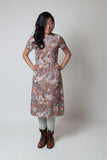 Vintage Cocoa Floral Print Tea Dress + Jacket Set - Terminology