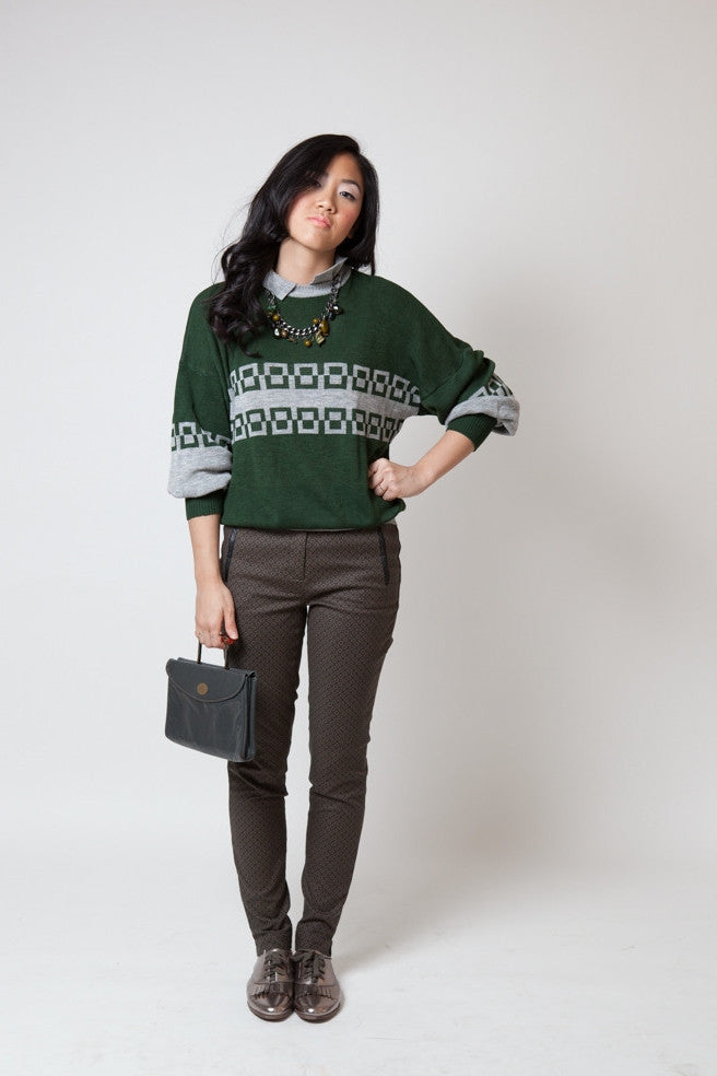 Vintage Lifetrends Green and Gray Collared Sweater (Unisex) - Terminology