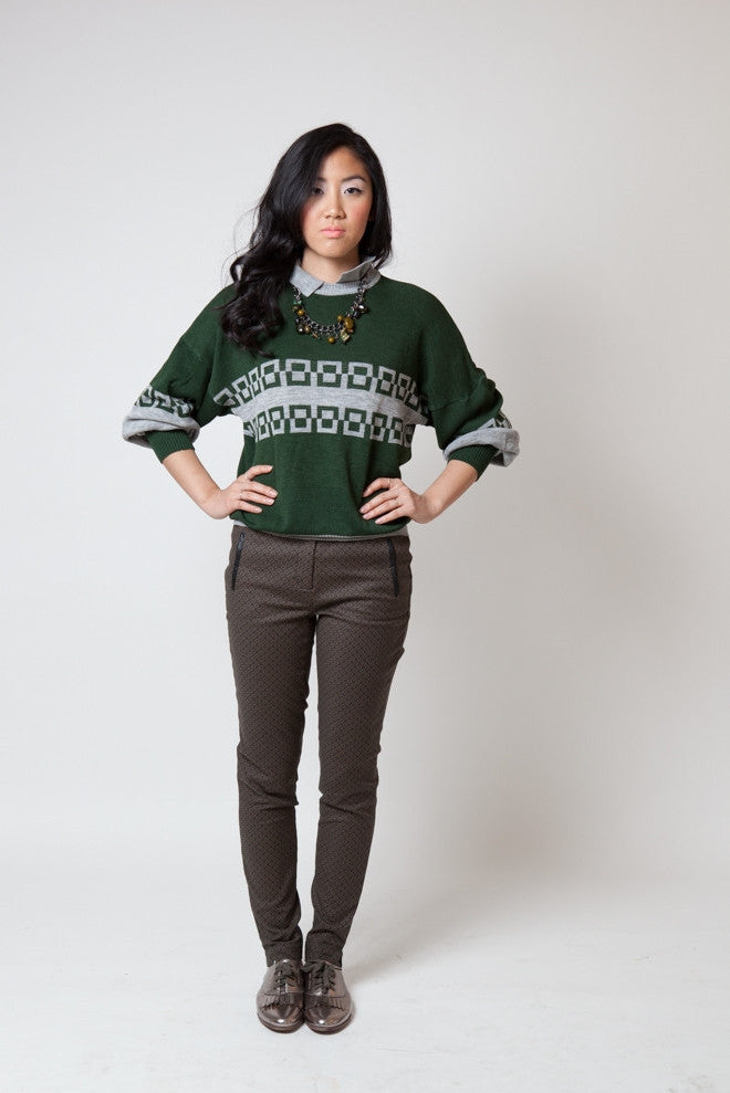 Vintage Lifetrends Green and Gray Collared Sweater (Unisex)