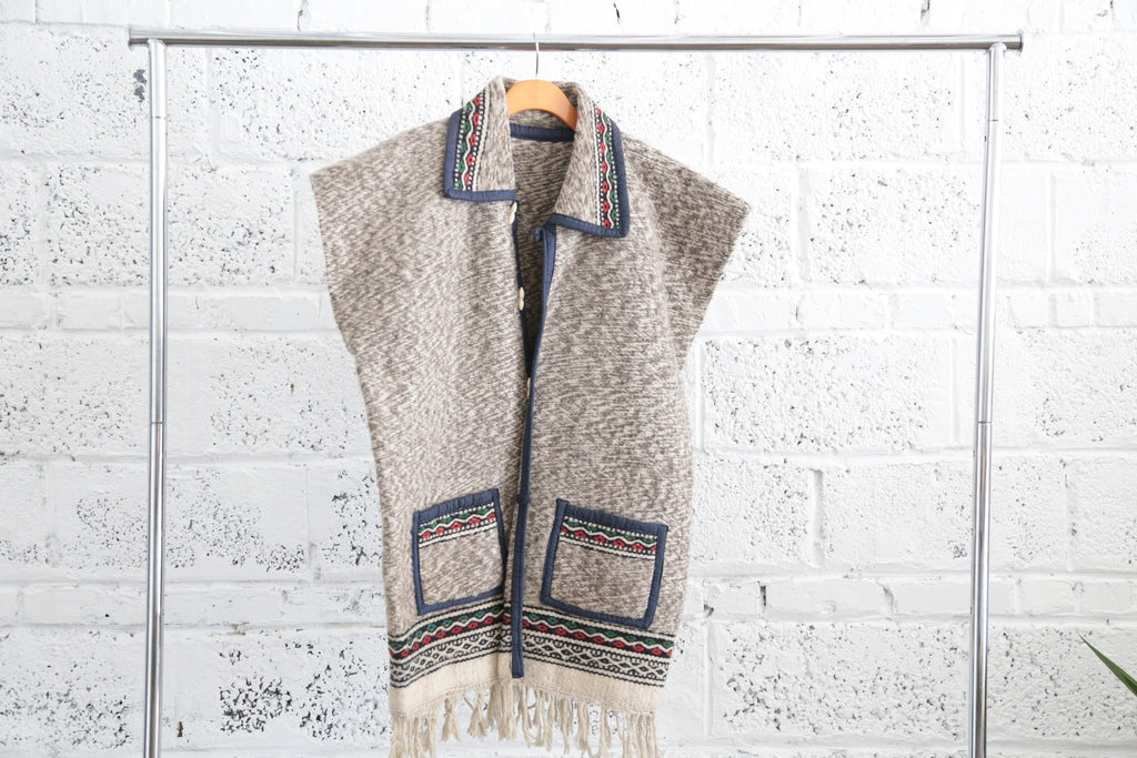 Vintage Collared Poncho Vest with Fringe Trim - Terminology