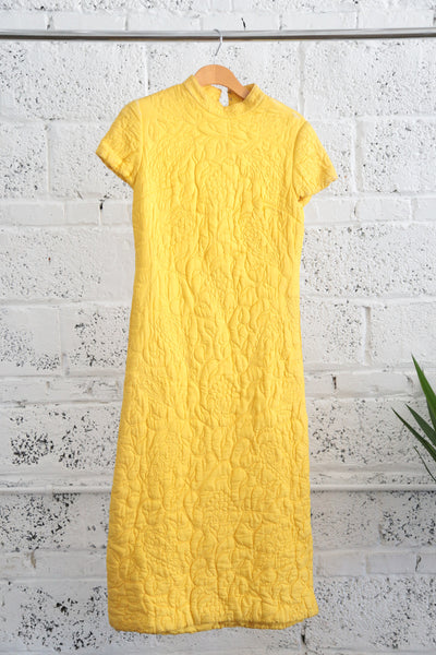 Trapunto-quilted High-neck Yellow Dynasty Dress - Terminology