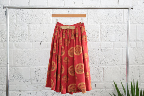 Vintage Asian Motif Embroidered Silk Blend Pleated Skirt - Terminology