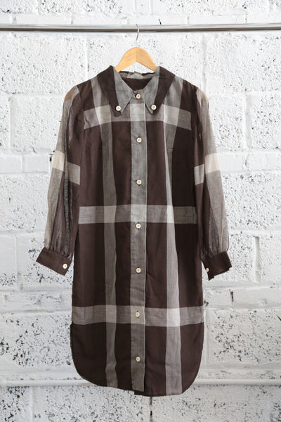 1960s Sheer-sleeve Plaid Button-down Shirt Dress - Terminology