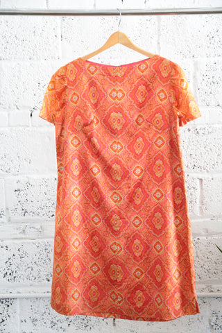 Vintage Patterned Silk Shift Dress - Terminology