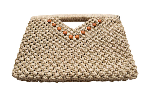 Vintage 1970s Original by Bessye Burwell Tan Macramé Clutch Bag - Terminology