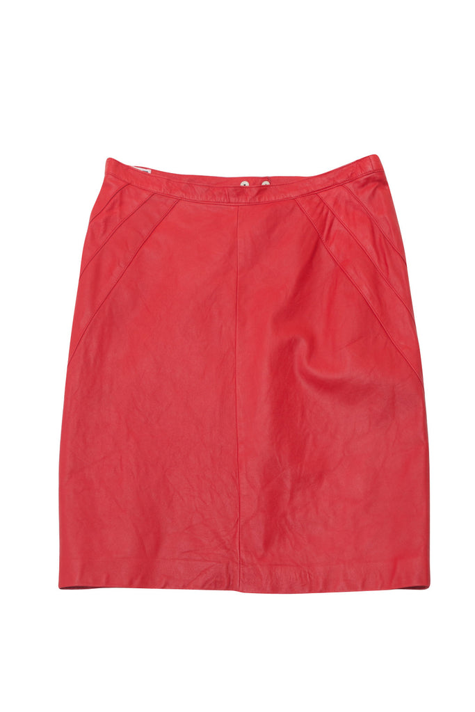Vintage Lipstick Red Leather Skirt