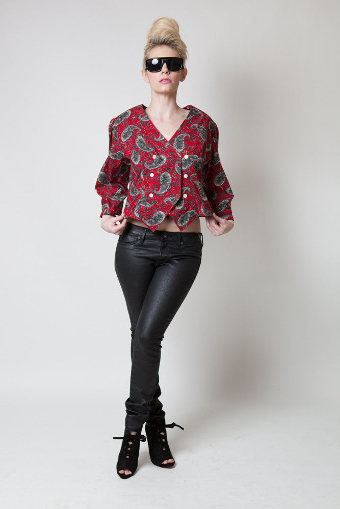 Vintage Petite Lanz Red Paisley Double-breasted Top - Terminology