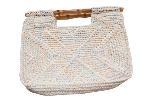Vintage 1970s Cream Crochet Clutch Bag with Bamboo handles - Terminology
