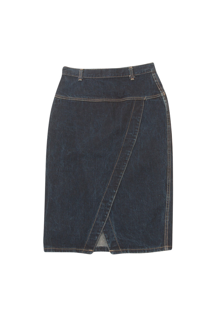 Vintage 1980's Weathered Blues Denim Wrap Skirt - Terminology
